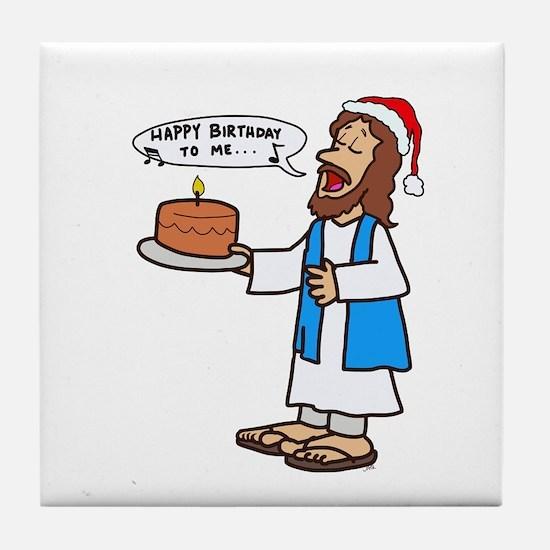 Happy Birthday Jesus Christmas Tile Coaster