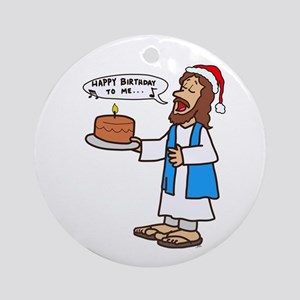 Happy Birthday Jesus Christmas Round Ornament