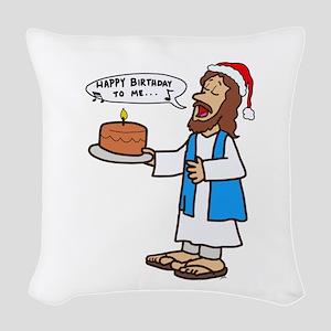Happy Birthday Jesus Christmas Woven Throw Pillow