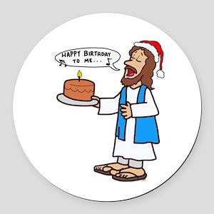 Happy Birthday Jesus Christmas Round Car Magnet