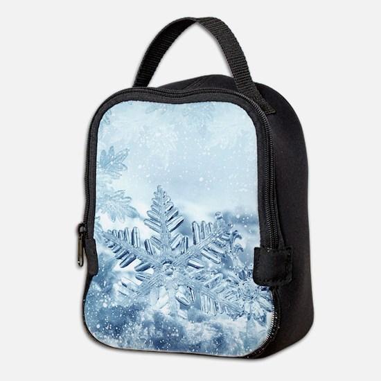 Snowflake Crystals Neoprene Lunch Bag
