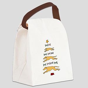 Greyhound Dog Christmas Tree Canvas Lunch Bag