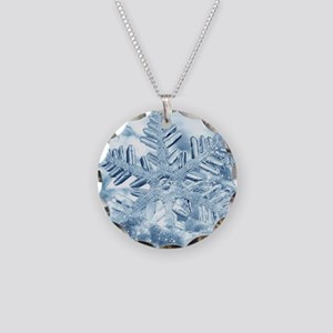 Snowflake Crystals Necklace Circle Charm