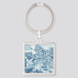 Snowflake Crystals Square Keychain