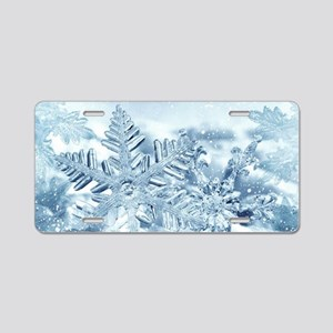 Snowflake Crystals Aluminum License Plate