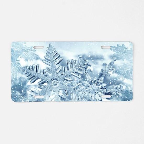 Snowflake Crystals Aluminum License Plate