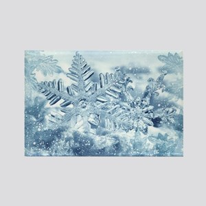 Snowflake Crystals Rectangle Magnet