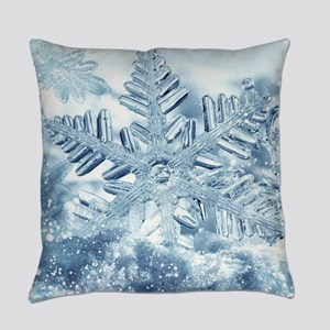 Snowflake Crystals Everyday Pillow
