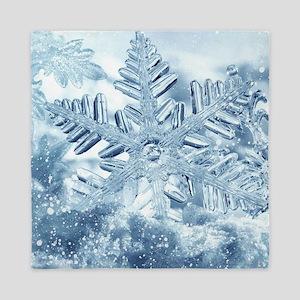 Snowflake Crystals Queen Duvet