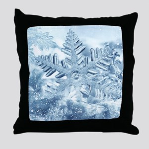 Snowflake Crystals Throw Pillow