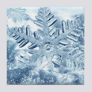 Snowflake Crystals Tile Coaster
