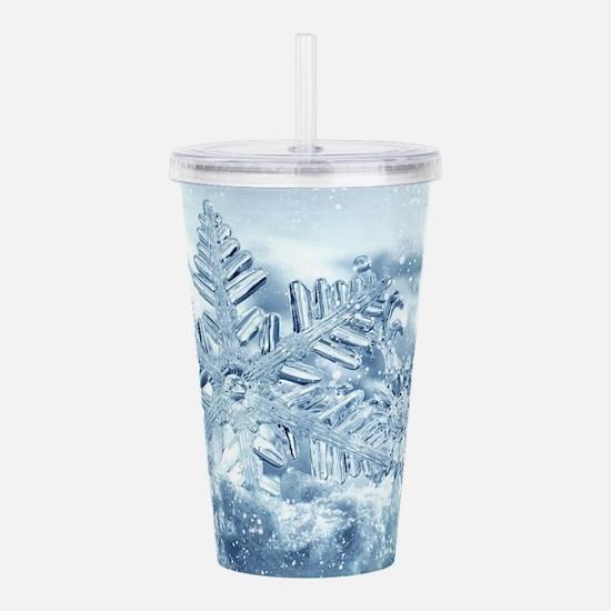 Snowflake Crystals Acrylic Double-wall Tumbler