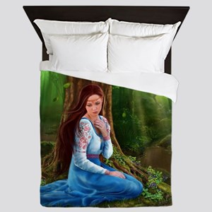 Medieval Lady and Knight Queen Duvet