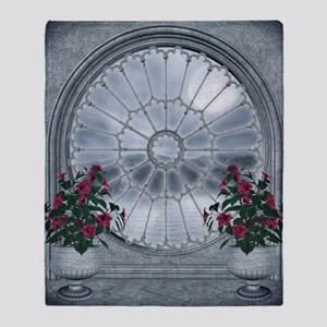 Gothic Rosette Window Throw Blanket