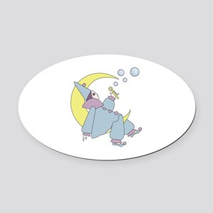 Harleguin Moon Oval Car Magnet