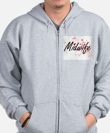 Midwife Artistic Job Design with Hearts Zip Hoodie