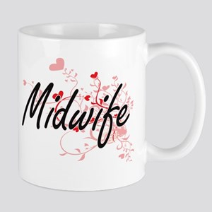 Midwife Artistic Job Design with Hearts Mugs
