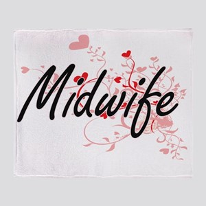 Midwife Artistic Job Design with Hea Throw Blanket