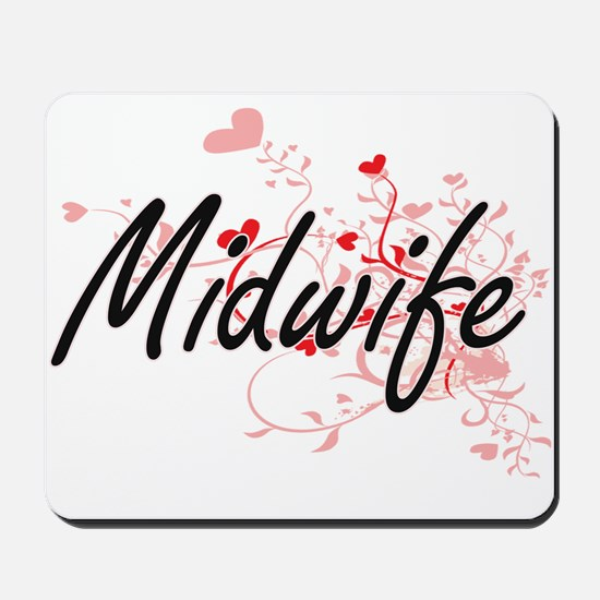 Midwife Artistic Job Design with Hearts Mousepad