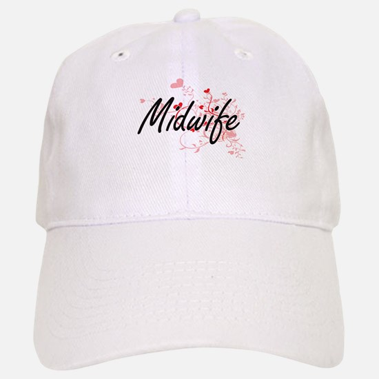 Midwife Artistic Job Design with Hearts Baseball Baseball Cap