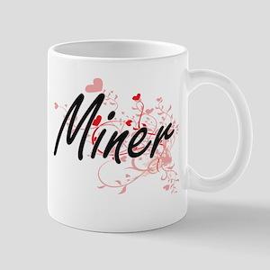 Miner Artistic Job Design with Hearts Mugs