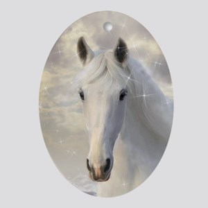 Sparkling White Horse Oval Ornament