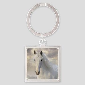 Sparkling White Horse Square Keychain