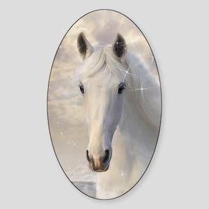 Sparkling White Horse Sticker (Oval)