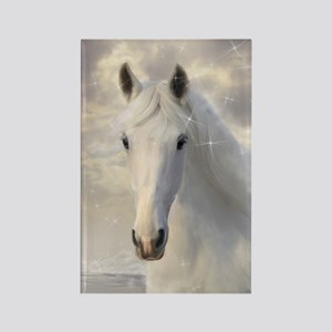 Sparkling White Horse Rectangle Magnet