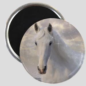Sparkling White Horse Magnet