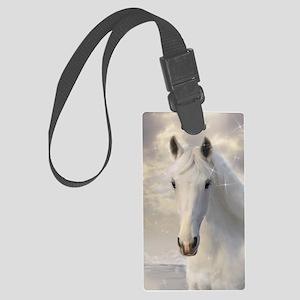 Sparkling White Horse Large Luggage Tag