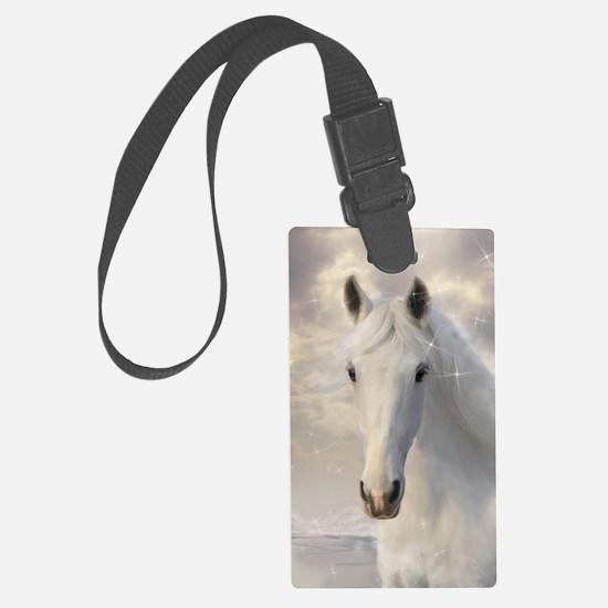Sparkling White Horse Luggage Tag