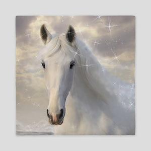 Sparkling White Horse Queen Duvet