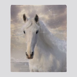 Sparkling White Horse Throw Blanket