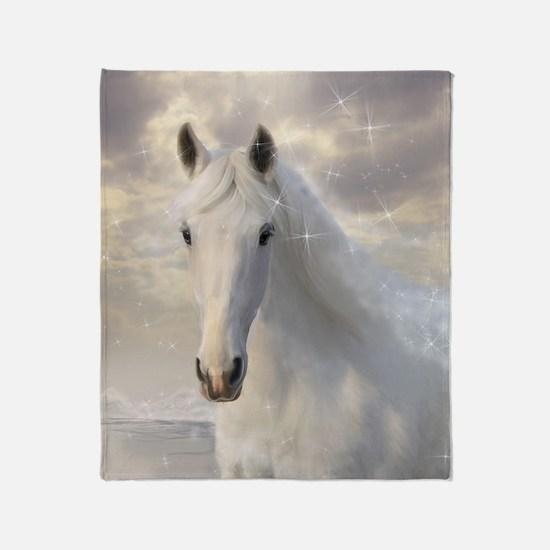 Sparkling White Horse Throw Blanket