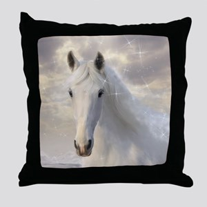Sparkling White Horse Throw Pillow