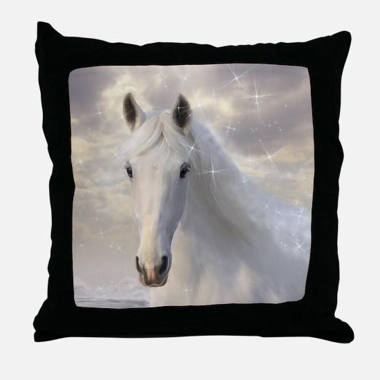 Sparkling White Horse Throw Pillow
