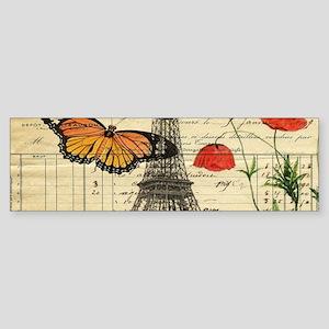 vintage butterfly paris eiffel towe Bumper Sticker