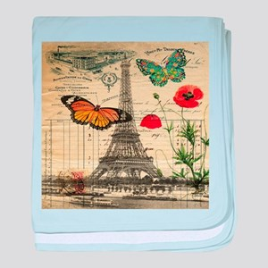 vintage butterfly paris eiffel tower baby blanket