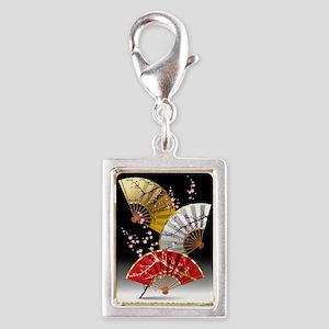Japanese Cherry Fans Silver Portrait Charm