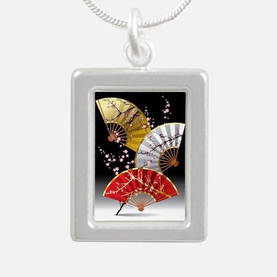 Japanese Cherry Fans Silver Portrait Necklace