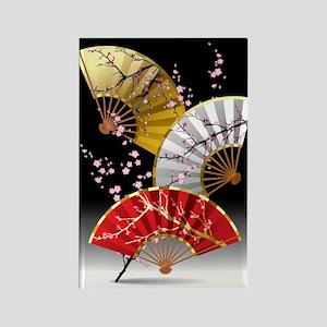 Japanese Cherry Fans Rectangle Magnet