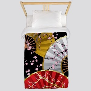 Japanese Cherry Fans Twin Duvet