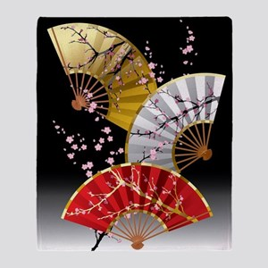 Japanese Cherry Fans Throw Blanket