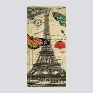 vintage butterfly paris eiffel tower Beach Towel
