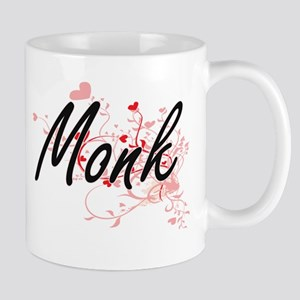 Monk Artistic Job Design with Hearts Mugs