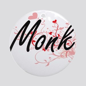 Monk Artistic Job Design with Heart Round Ornament