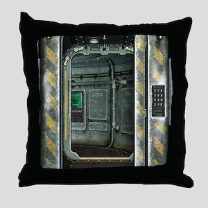 Space Ship Doorway Throw Pillow