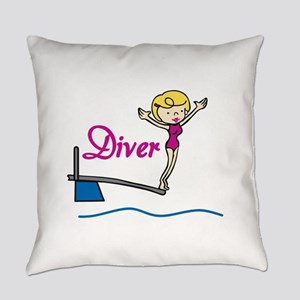 Diver Woman Everyday Pillow