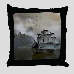 Old Sail Ship Throw Pillow